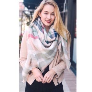 Accessories - Pink Plaid Blanket Scarf